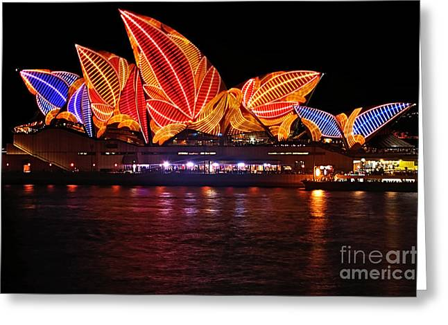 Vivid Sydney By Kaye Menner - Opera House ... Leaves Greeting Card by Kaye Menner