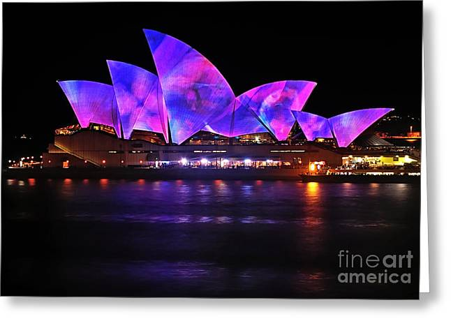 Vivid Sydney By Kaye Menner - Opera House ... Pink And Blue Greeting Card by Kaye Menner