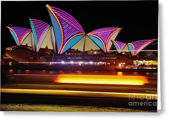 Vivid Sydney By Kaye Menner - Opera House... Patterns Greeting Card by Kaye Menner