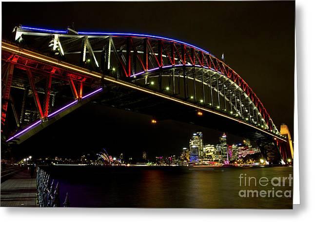 Bryan Freeman Greeting Cards - Vivid Sydney Harbour Bridge Greeting Card by Bryan Freeman