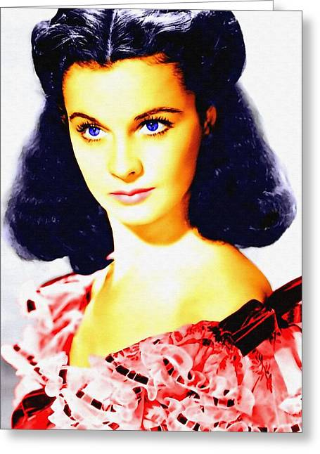 First Star Mixed Media Greeting Cards - Vivien Leigh in Gone with the Wind Greeting Card by Art Cinema Gallery