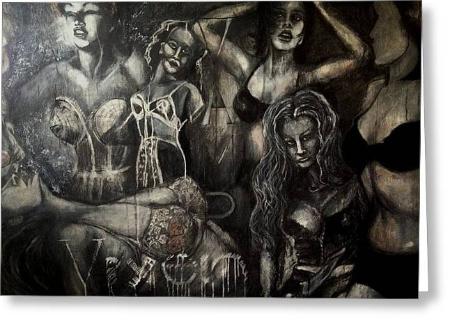 Large Scale Mixed Media Greeting Cards - Vixens Vamps and Virgins Greeting Card by C Stephenson-Gibbs