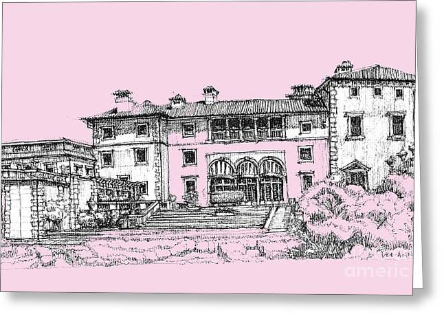 Detailed Ink Drawing Drawings Greeting Cards - Vizacaya Museum in baby pink  Greeting Card by Building  Art