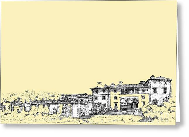 Peach Drawings Greeting Cards - Vizcaya in cream  Greeting Card by Building  Art