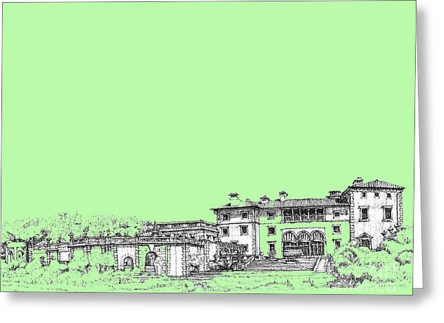 Detailed Ink Drawing Drawings Greeting Cards - Vizcaya in lime-green Greeting Card by Building  Art