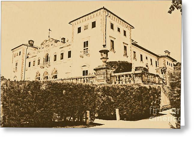 Vintage Digital Art Greeting Cards - Vizcaya Mansion Museum Corner View Coconut Grove Biscayne Bay Miami Florida Rustic Digital Art Greeting Card by Shawn O