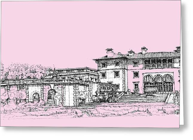 Registry Greeting Cards - Vizcaya Museum and Gardens baby pink Greeting Card by Building  Art