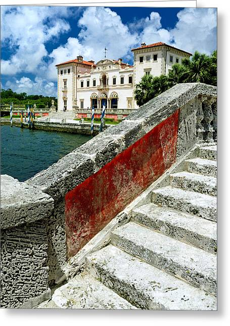 Tuscan Greeting Cards - Vizcaya Museum and Gardens Biscayne Bay Miami FL Greeting Card by Amy Cicconi