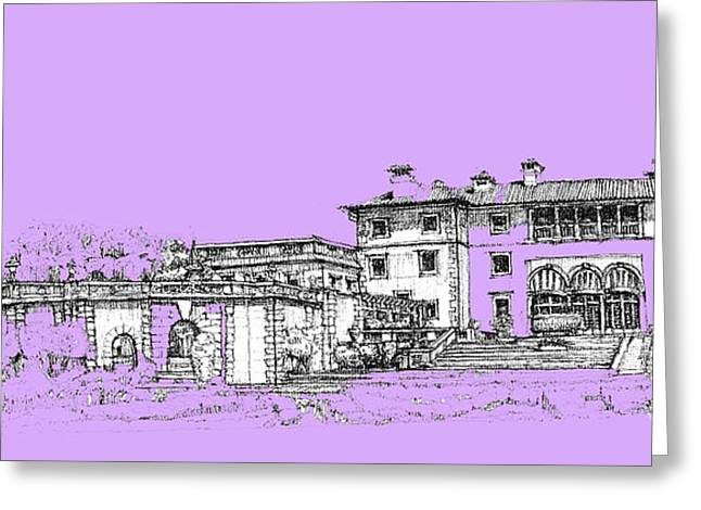 Detailed Ink Drawing Drawings Greeting Cards - Vizcaya Museum and Gardens in lilac Greeting Card by Building  Art