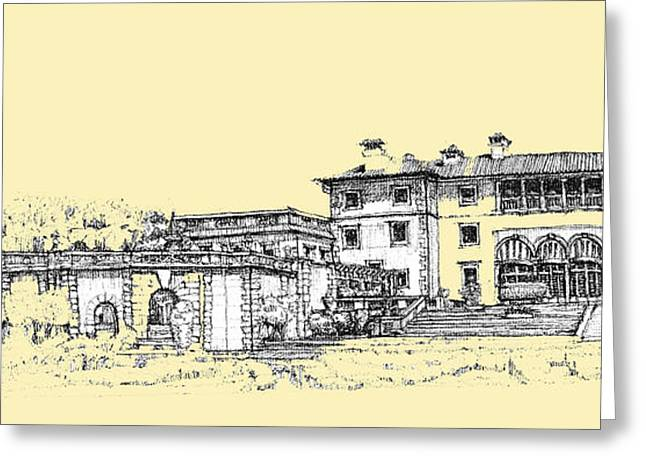 Detailed Ink Drawing Drawings Greeting Cards - Vizcaya Museum and Gardens in peachy cream Greeting Card by Building  Art
