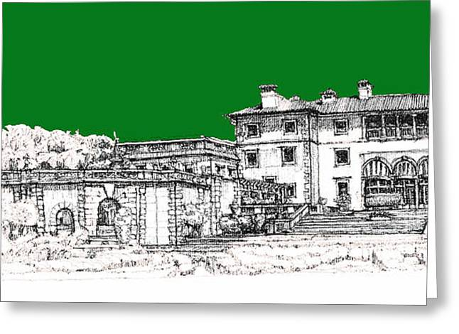 Detailed Ink Drawing Drawings Greeting Cards - Vizcaya Museum and Gardens in pine green Greeting Card by Building  Art