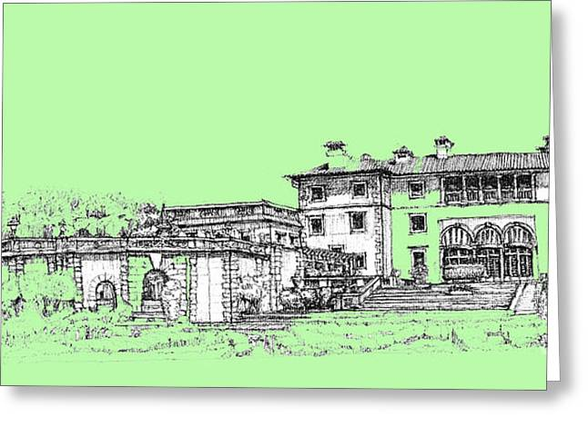 Detailed Ink Drawing Drawings Greeting Cards - Vizcaya Museum and Gardens in pistachio green Greeting Card by Building  Art