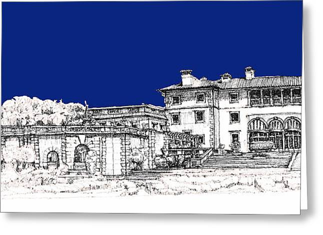 Detailed Ink Drawing Drawings Greeting Cards - Vizcaya Museum and Gardens in royal blue Greeting Card by Building  Art