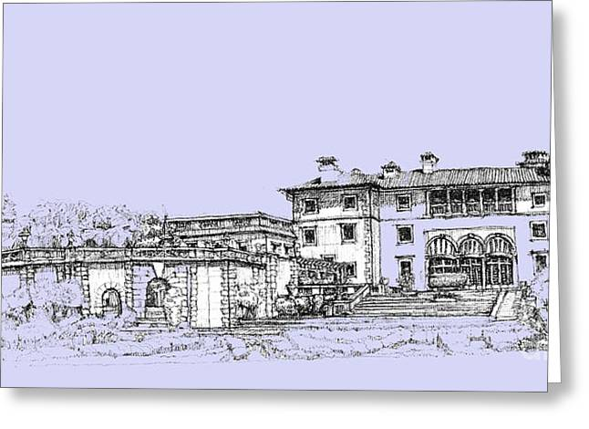 Detailed Ink Drawing Drawings Greeting Cards - Vizcaya Museum and Gardens in soft blue Greeting Card by Building  Art