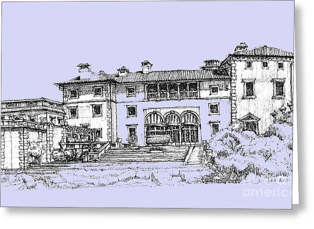 Detailed Ink Drawing Drawings Greeting Cards - Vizcaya Museum and Gardens powder blue Greeting Card by Building  Art