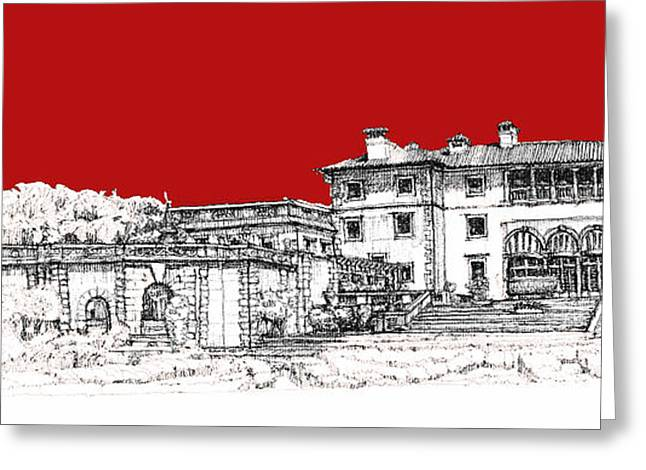 Detailed Ink Drawing Drawings Greeting Cards - Vizcaya Museum and Gardens scarlet Greeting Card by Building  Art