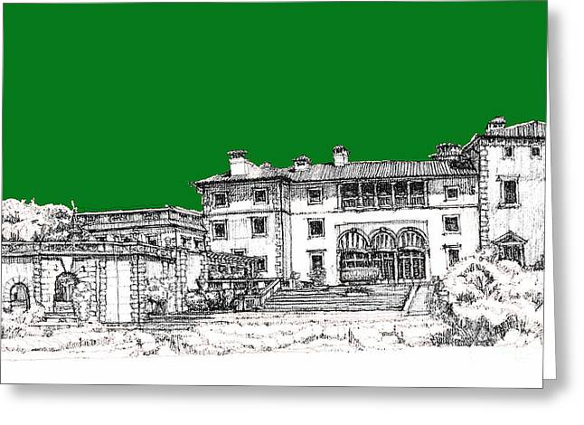 Detailed Ink Drawing Drawings Greeting Cards - Vizcaya Museum in green Greeting Card by Building  Art