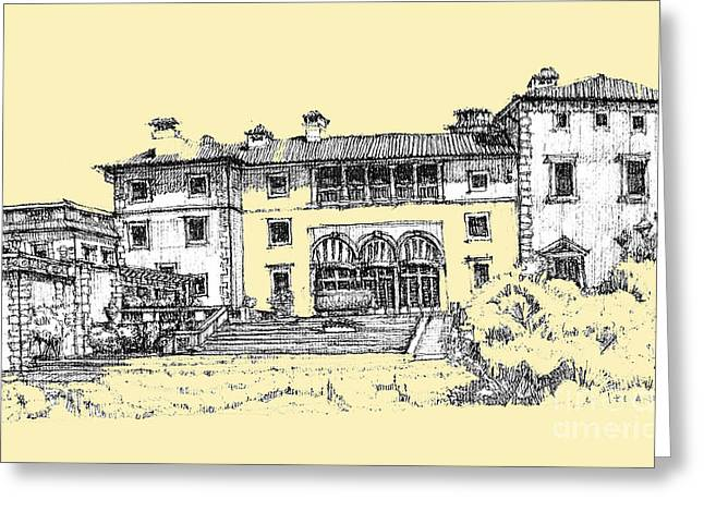 Peach Drawings Greeting Cards - Vizcaya Museum in light peach Greeting Card by Building  Art