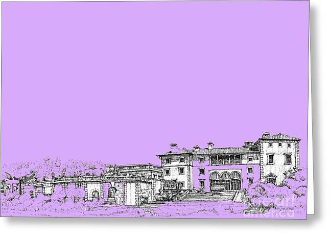 Detailed Ink Drawing Drawings Greeting Cards - Vizcaya Museum in lilac Greeting Card by Building  Art