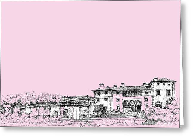 Detailed Ink Drawing Drawings Greeting Cards - Vizcaya museum in pink Greeting Card by Building  Art