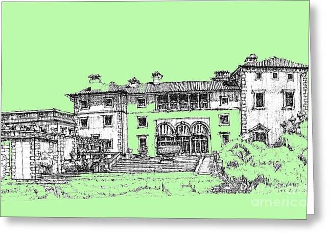 Detailed Ink Drawing Drawings Greeting Cards - Vizcaya Museum in pistachio Greeting Card by Building  Art