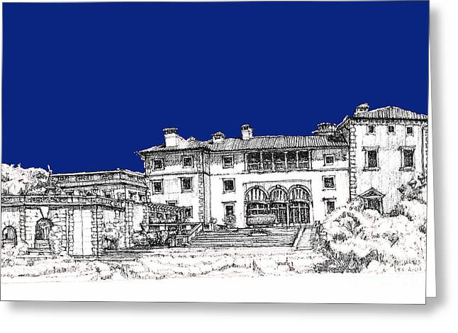 Detailed Ink Drawing Drawings Greeting Cards - Vizcaya Museum in royal deep blue Greeting Card by Building  Art