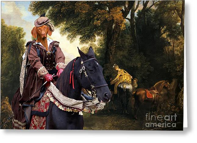 Magyar Vizsla Greeting Cards - Vizsla - Hungarian Vizsla Art Canvas Print Greeting Card by Sandra Sij