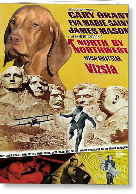 Vizsla Art Canvas Print - North By Northwest Movie Poster Greeting Card by Sandra Sij