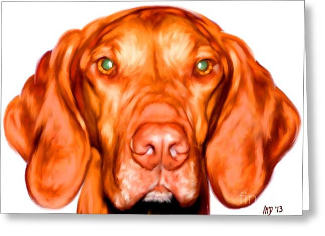 Buy Dog Prints Digital Greeting Cards - Vizsla Dog Art Portrait Greeting Card by Iain McDonald