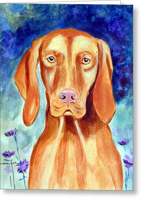Puppies Greeting Cards - Vizsla in Moms Garden Greeting Card by Lyn Cook