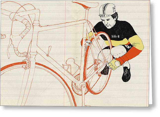 Bike Race Greeting Cards - Vlaeminck Greeting Card by Eliza Southwood