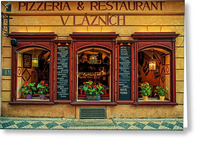 European Restaurant Greeting Cards - Vlaznich Pizzeria and Restaurant. Prague Greeting Card by Jenny Rainbow