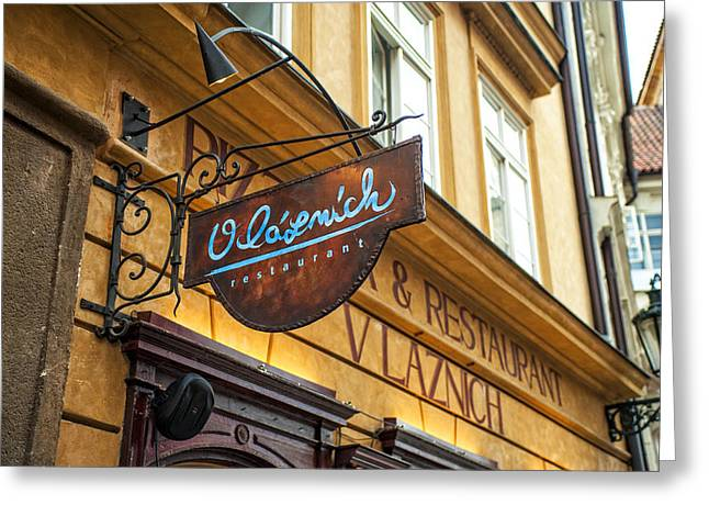 European Restaurant Greeting Cards - Vlaznich Restaurant in Old Town. Prague Greeting Card by Jenny Rainbow