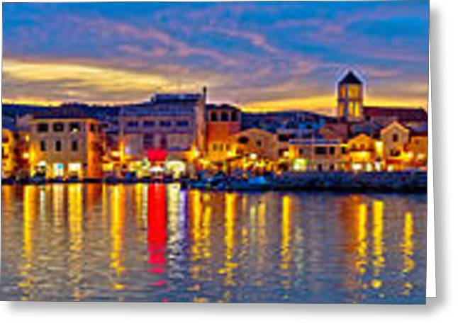 Sailboats Docked Greeting Cards - Vodice waterfront colorfu evening panorama Greeting Card by Dalibor Brlek
