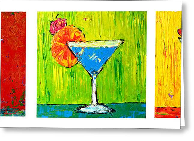 Green And Yellow Greeting Cards - Vodka Martini Collection Bar Decor Greeting Card by Patricia Awapara
