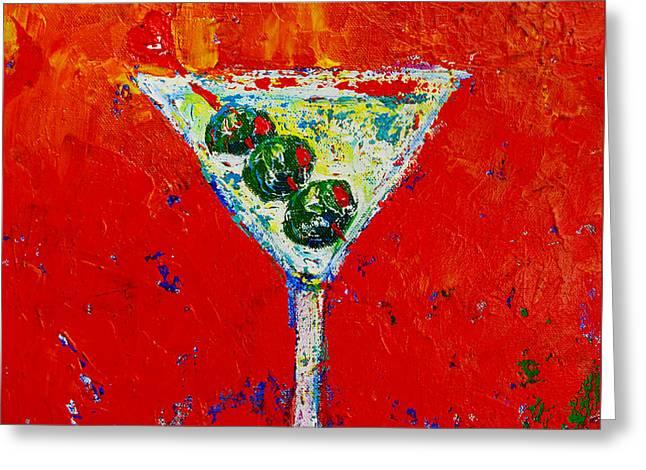 Vodka Martini Shaken Not Stirred - Martini Lovers - Modern Art Greeting Card by Patricia Awapara