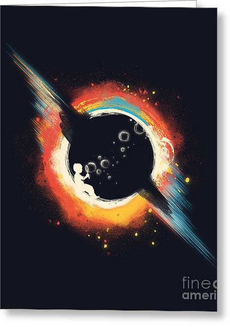 Outer Space Greeting Cards - Void Greeting Card by Budi Kwan