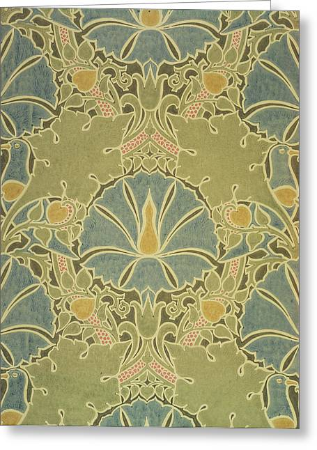 Wallpaper Tapestries Textiles Greeting Cards - Voisey the Saladin Greeting Card by William Morris
