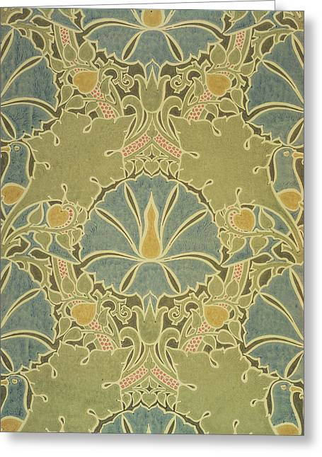 Foliage Tapestries - Textiles Greeting Cards - Voisey the Saladin Greeting Card by William Morris