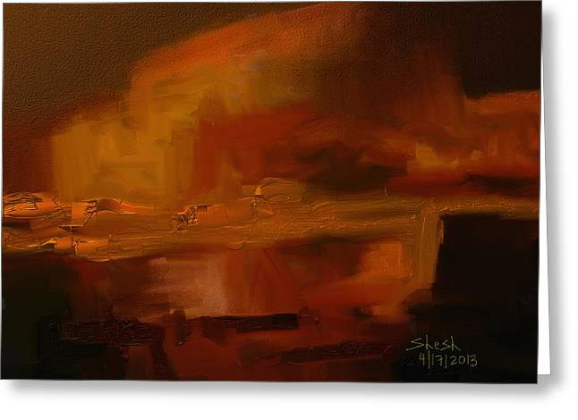 Shesh Tantry Greeting Cards - Volcanic Glow Greeting Card by Shesh Tantry