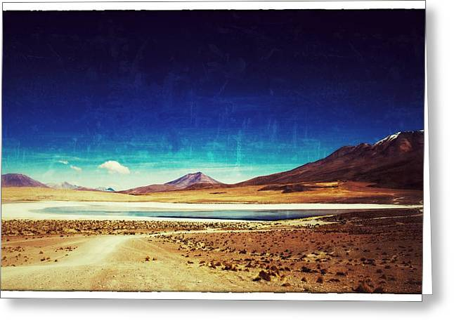 Bolivia Blog Greeting Cards - Volcano Lagoon Bolivia Vintage Greeting Card by For Ninety One Days