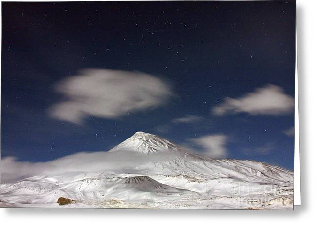 Winter Night Greeting Cards - Volcano Under Moonlight Greeting Card by Babak Tafreshi