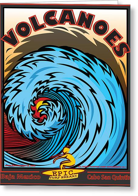 Digitalart Greeting Cards - Volcanoes Baja Mexico Surfing Greeting Card by Larry Butterworth