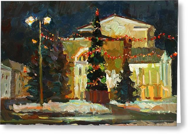Winter Night Greeting Cards - Volkov theatre in Yaroslavl Greeting Card by Juliya Zhukova
