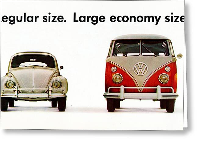 Vw Beetle Greeting Cards - Volkswagen 1960s Vintage Advert Greeting Card by Nomad Art And  Design