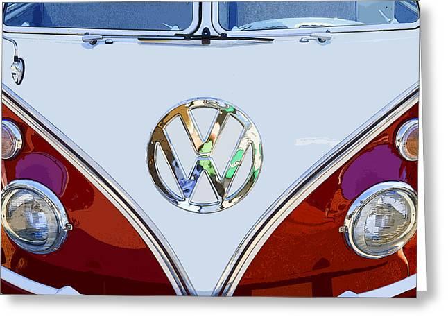 Wagon Greeting Cards - Volkswagen 21 window Kombi Bus Greeting Card by Keith Webber Jr