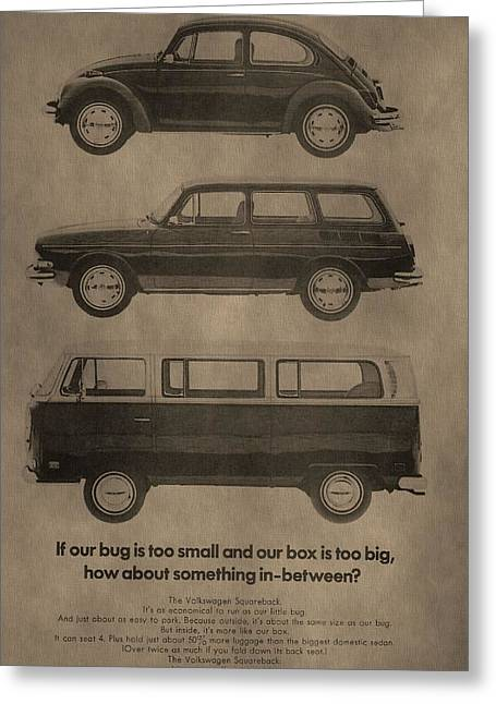 Mechanics Mixed Media Greeting Cards - Volkswagen Advertisement Greeting Card by Dan Sproul