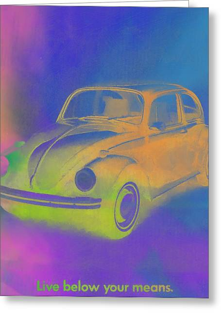 Vw Beetle Greeting Cards - Volkswagen Beetle Ad Pop Art Greeting Card by Dan Sproul