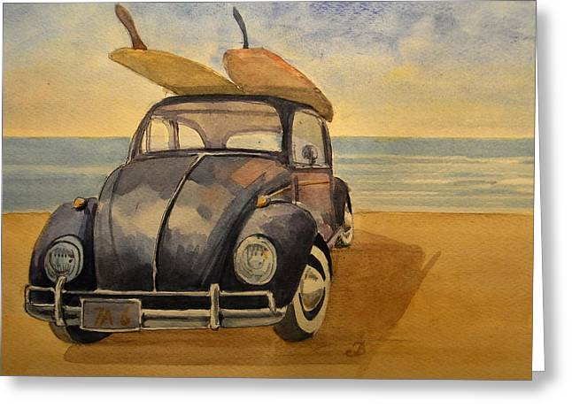 California Art Greeting Cards - Volkswagen beetle Greeting Card by Juan  Bosco