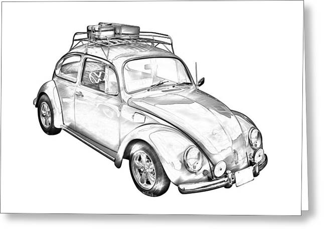 Oldtimer Greeting Cards - Volkswagen beetle Punch Buggy Illustration Greeting Card by Keith Webber Jr